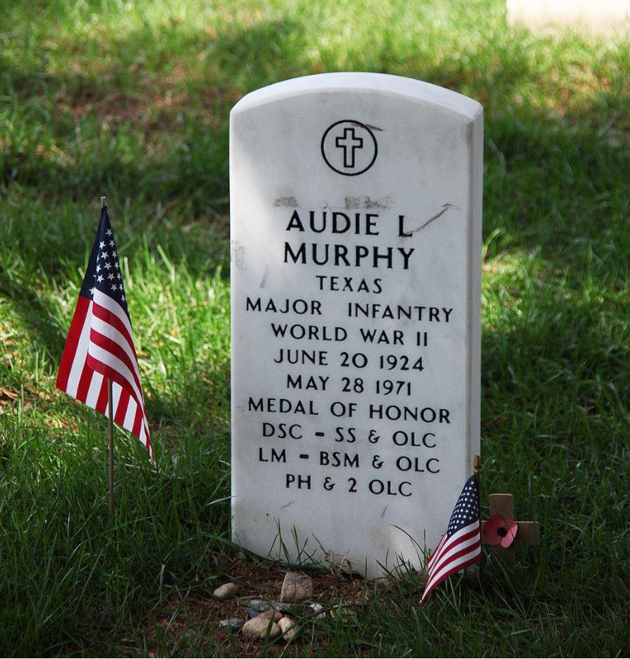Audie Murphy's headstone at Arlington National Cemetery in Arlington County, VA