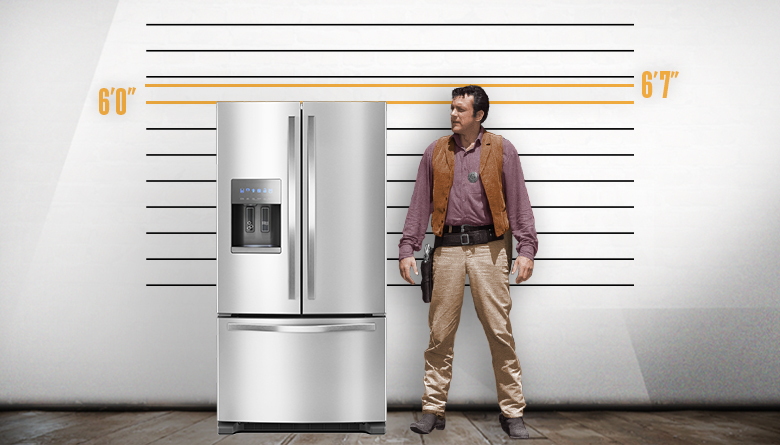 Refrigerator and James Arness Height Comparison