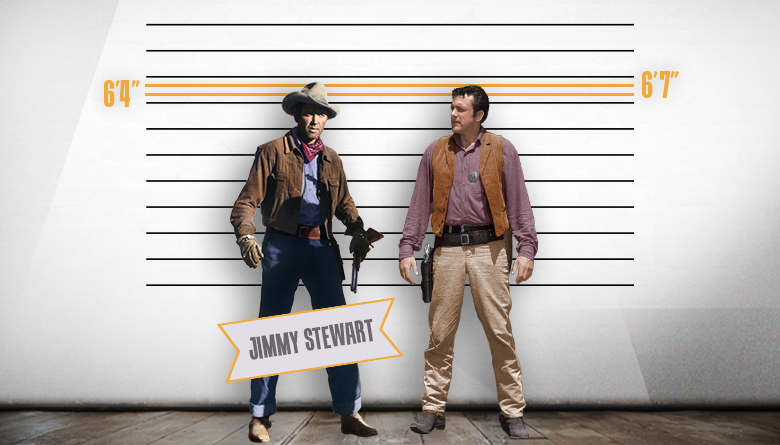 Jimmy Stewart and James Arness Height Comparison